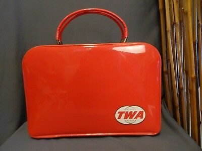 """1960s TWA Airlines Certified Vintage Carry On Travel Bag First Class 13.5 x 9.5"""""""
