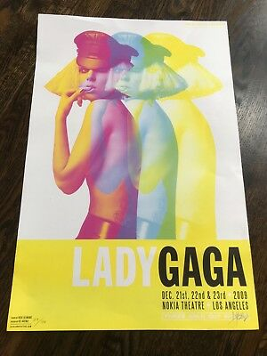 LADY GAGA Los Angeles Limited edition 2009 concert poster #23 Kii Arens signed