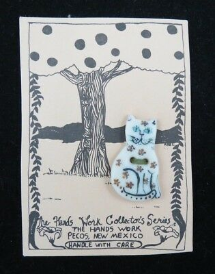 Handmade Ceramic Cat Button, Arel Mishory, The Hands Work, Pecos NM