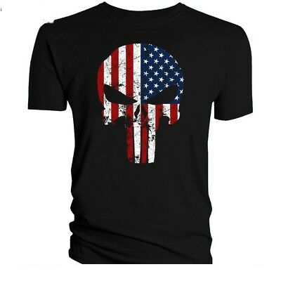The Punisher American Flag T-Shirt Military Skull US Army USA Pride Distressed