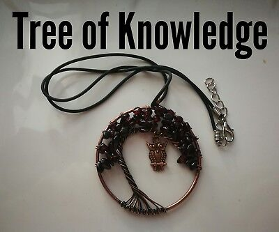 Code 333 Garnet xl Tree of Knowledge Archangel Infused Necklace Virtue Certified