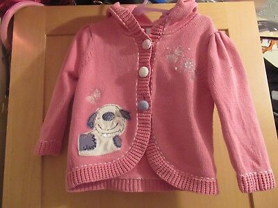 NEXT GIRLS 18-24 MONTHS PINK HOODED CARDIGAN dog, butterflies