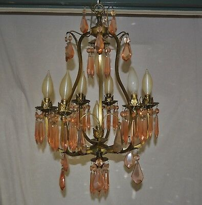 ANTIQUE BRASS CHANDELIER FIXTURE BIRD-CAGE NICELY HAND MADE - PARTS or PROJECT !
