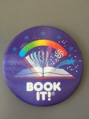 Vintage Pizza Hut BOOK IT! 1988 Pin Button Badge Holographic Swirls & Stars