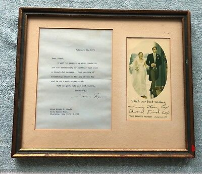 1971 Tricia Nixon & Edward Cox Marriage Personal Thanks & T. Nixon Letter Framed