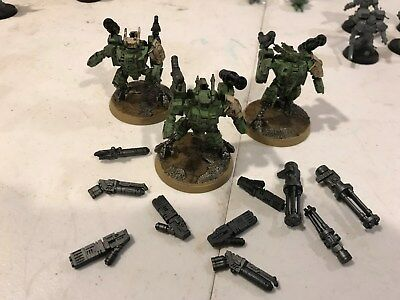 warhammer 40k TAU XV8 Crisis Battlesuits Team x3 fully painted and magnetized