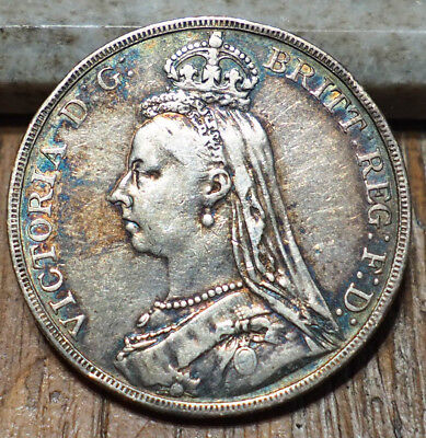1890 Great Britain Silver Crown VF Condition w/ Nice Toning