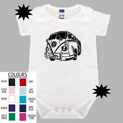 Kombi VW Volkswagen Baby One Piece. Romper. Cotton Snapsuit. Gift Boy Girl