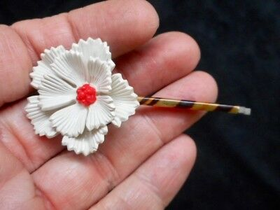 Authentic Vintage 1960's White & Red Metal Flower Hairpin