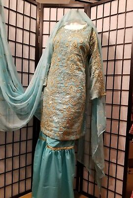 *1 day only $80 * Wedding Partywear Gharara pant suit Indian Pakistani size M