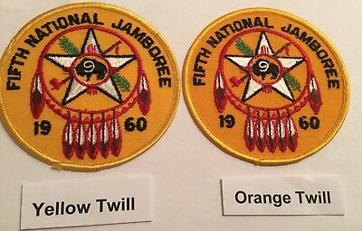 1960 National Jamboree Region 9 Lot Of 2 Different Patches Orange & Yellow Twill