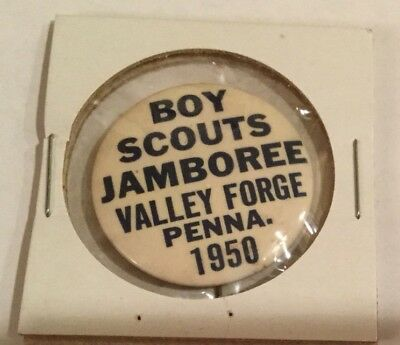1950 National Jamboree Valley Forge PA Button 1 All Blue Letters