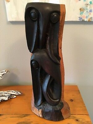 "Vtg Makonde Wood Carving Art Sculpture from Peeras Tanzania 21"" large tall"