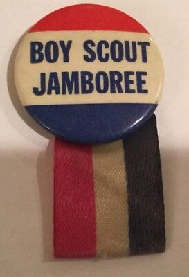 1957 National Jamboree Pin Button with Red White and Blue Ribbon