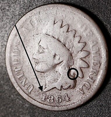 1864L INDIAN HEAD CENT - Pointed Bust