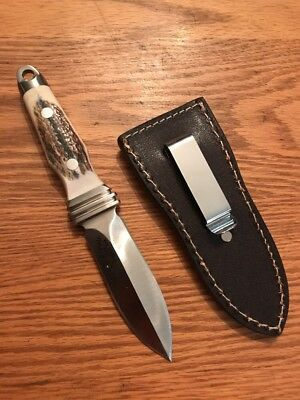 """Vintage Stag 2014 A.G.Russell  """"Sting 3"""" Boot Survival Knife w/ Leather Sheath"""