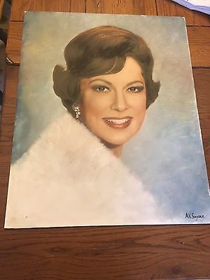 VINTAGE ORIGINAL OIL ON BOARD of ELEANOR POWELL (actress) 16x20 Signed Snyder