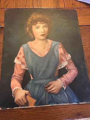 1960's ORIGINAL OIL ON BOARD of LILLIAN  GISH  (actress) Unsigned 16x20 LOOK!