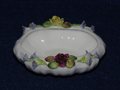 Coalport Pin Dish - Ribbed Basket Finish W/ Applied Flowers #546 - Mint