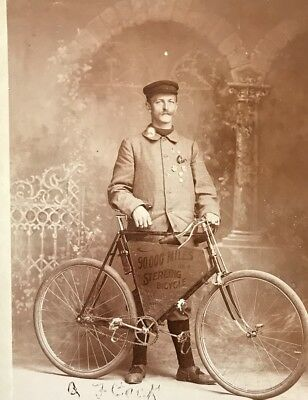 Albert Fleck Hanover Germany Cabinet Photo Card with Sterling Bicycle Antique