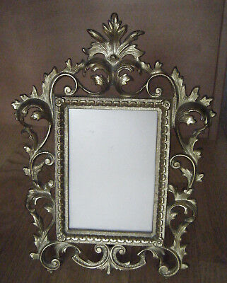 Vtg Antique Photo Picture Frame Rococo Style Ornate Brass Folding Brass Stand