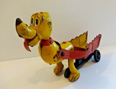 Vintage ** Disney Playful Pluto ** Tin Toy By Linemar.