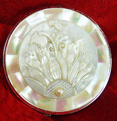 Carved Flowers And A Pearl On A Mother Of Pearl Shell Powder Compact