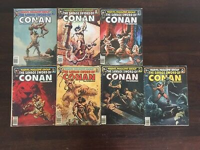 The Savage Sword of Conan #66-72, GD, VG, FN Conditions. Marvel Magazine Group