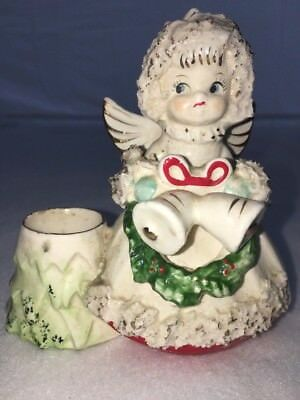 Vintage 50's Christmas Spaghetti Angel Candle Holder Figurine Commodore Japan