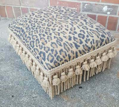 Vintage Foot Stool Bench Cheetah Upholstery Fringed All 4 Sides