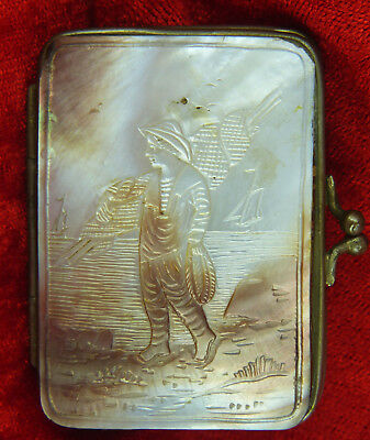 Mother Of Pearl Case With A Super Carving Of A Fisherman Carrying A Fishing Net