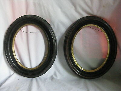 pair of antique picture frame oval wooden wood frames decor 2 old