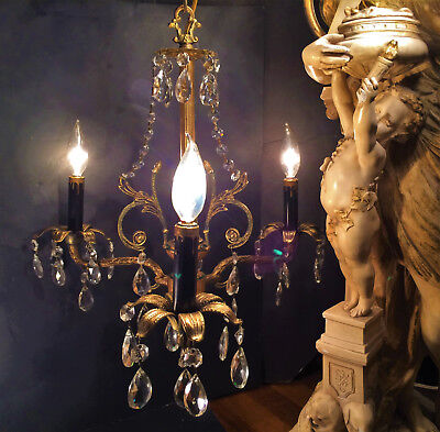 Fine Antique Petite French 3 Lt Neoclassical Gilt Bronze Crystal Chandelier 1920