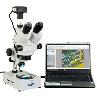 OMAX 3.5X-90X USB3 14MP Trinocular Zoom Stereo Microscope+Dual Light Desk Stand