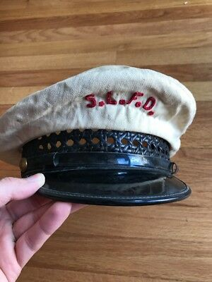 Vintage Firefighters SLFD Captain Hat Visor Cap St.Louis Fire Dept 7 1/8