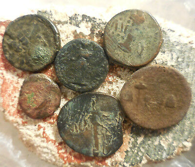 Lot of 6 Ancient Greek Coins, Largest 22.5 mm.