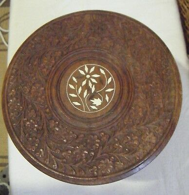 Vintage Wood carved floral design small side table.Made in India pre 1960's.#3#