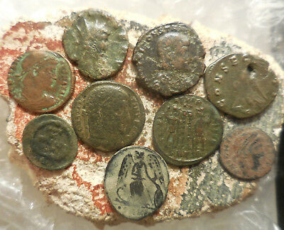 Lot of 9 Ancient Roman Coins, Largest 19 mm.