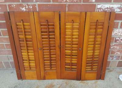 Vintage Wood Privacy Shutters Panel Set Folding Louvered Brass Knobs 31x24