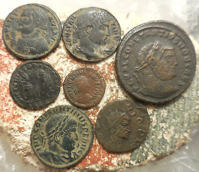 Lot of 7 VF+ Ancient Roman Coins! Largest 29 mm.  Easy to ID!