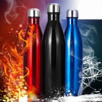 500/750/1000ml New Doule Wall Vacuum Cool Water Bottle Cups For Hiking Sports AU
