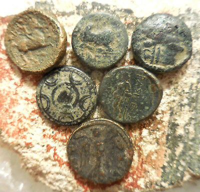 Lot of 6 VF Greek Coins, Philip II, Macedonia Helmet Shield, Kyme Eagle! Bull: