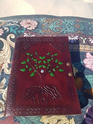 Handmade Leather Celtic Tree of Life Journal with brass clasp