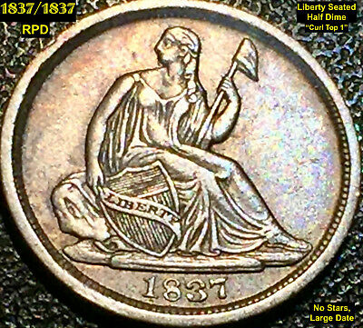 1837/1837 Liberty Seated Half Dime - Rpd - No Stars, Large Date