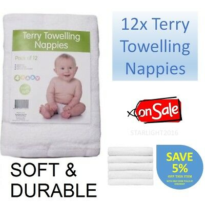 12x Baby Terry Towelling Soft Reusable Nappies Infant Newborn Cloth Cotton Nappy