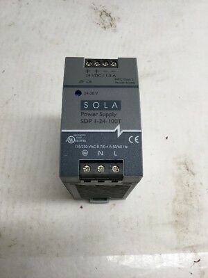 Sola SDP1-24-100T 24 VDC 1.3 Amp 24 VDC Power Supply SDP 1-24-100T SDP124100T
