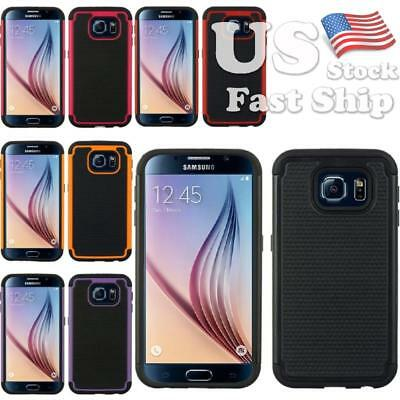 For Samsung Galaxy S6 Dots Shock Absorbing Hybrid Rugged Dual Layer Cover Case