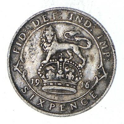 Roughly Size of Dime - 1916 Great Britain 6 Pence - World Silver Coin *993