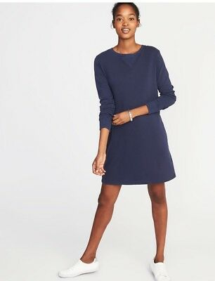 NWT Old Navy Garment-Dyed French Terry Dress in Navy, Size Medium