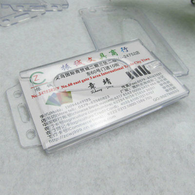 New Clear Vertical Hard Plastic Badge ID Credit Pass Card Holder Pocket 2PSC